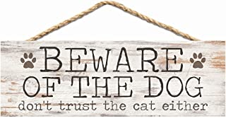 P. Graham Dunn Beware Dog Don't Trust Cat Whitewash 10 x 3.5 Inch Pine Wood Slat Hanging Wall Sign