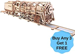 Ugears 3D Locomotive with Tender Model, Adult Puzzle, Self-Assembling Brainteaser, Engineering Toys