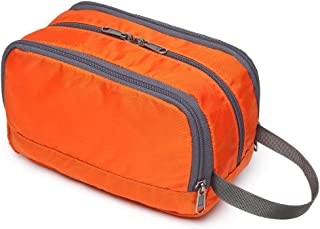 Travel Toiletry Bag, iSPECLE Organizer Kit with Handle for Cosmetic, Toiletries, for Women Men Orange