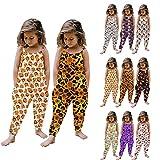 Lovor Baby Girl Jumpsuits Strap Romper Jumpsuit Cartoon Outfits Halloween Pumpkin Toddler Harem Pants with Pockets Jumpsuit (A Black,2-3T)