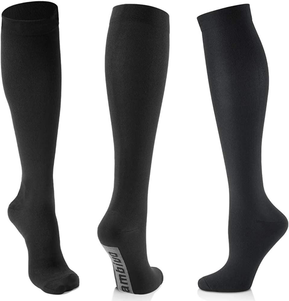 CAMBIVO Compression Socks 3 Pairs for Women and Men, 20-30mmHg Thick High Stockings for Sports, Running, Circulation,Travel: Clothing
