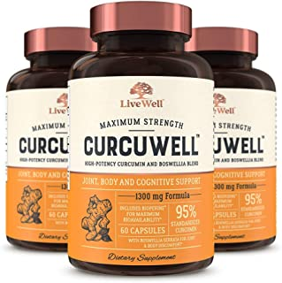 CurcuWell - Maximum Strength Joint, Body and Cognitive Support   High-Potency Curcumin and Boswellia Blend - 90 Day Supply