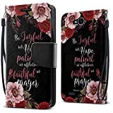 FINCIBO Case Compatible with LG X Power 2 LV7 M320 5.5 inch, Fashionable Flap Wallet Pouch Cover Case + Card Holder Kickstand For LG X Power 2 LV7 (NOT FIT LG X Power) - Christian Bible Romans 12:12