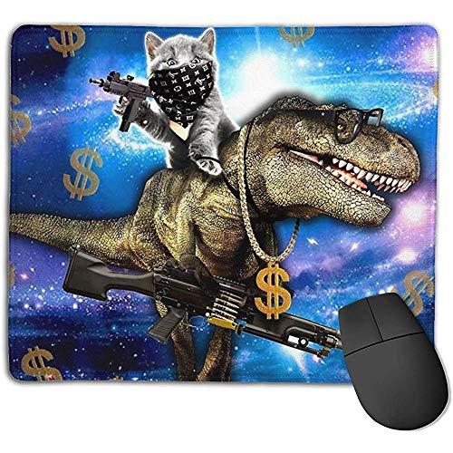 muismat ruimte kat paardrijden dinosaurus t-rex met pistolen Dollars rechthoek muis pads anti-slip rubber muismat gaming muis pad 25x30 cm voor computer laptop Thuis kantoor spel bureau