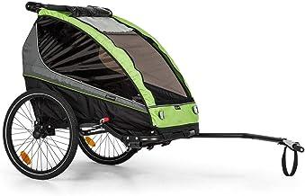 Klarfit Kiddy King - Remolque de Bicicleta para niños,2 plazas,Universal,Cinturón de 5 Puntos,2 Ruedas de 20