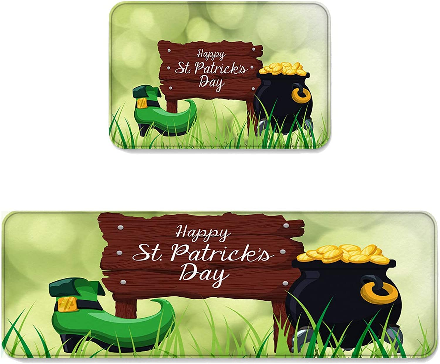 Kitchen Rug Sets 2 Piece Floor Mats Non-Slip Rubber Backing Area Rugs St Patrick's Day Fantasy Bubbles Grass gold Coin Doormat Washable Carpet Inside Door Mat Pad Sets (19.7  x 31.5 +19.7  x 47.2 )