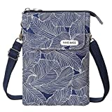 LassZone Canvas Cute Crossbody Handbags Cell Phone Purse Wallet Leaves Pattern Small Change Pouch Bags for Women Girls