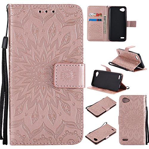 Capa carteira XYX para LG Q6, [Flor do sol] Couro PU premium fecho magnético TPU bumper capa slim fit para LG Q6/LG G6 Mini/LG Q6 Plus, ouro rosa
