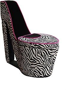 ORE International A High Heel Storage Chair, Black Zebra