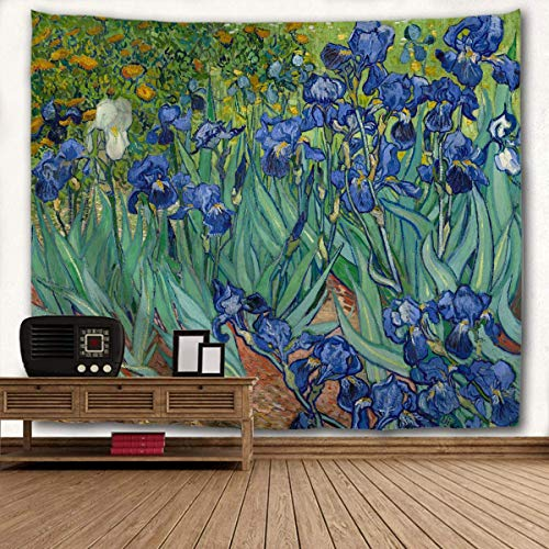 WIHVE Tapestry Van Gogh Irises Flower Wall Hanging Art Home Decor Polyester Tapestry for
