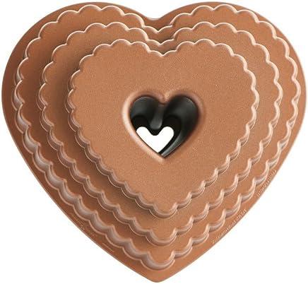 Nordic Ware 89937 Cast Bakeware Tiered Heart Bundt Bronze