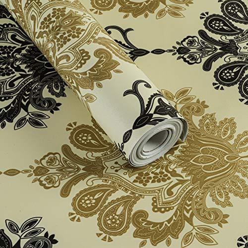 Carta da parati damascata, autoadesiva, per cassetti, armadi, mensole, 45 x 1000 cm, colore: beige
