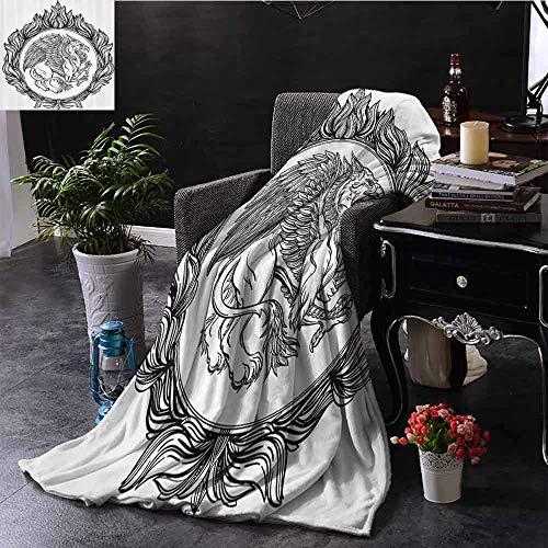 Leisure-Time Ropa de Cama Vintage Franela Manta Mitológica con alas Bestia mágica Grifo en Anillo de Fuego Emblema de la heráldica Victoriana Manta de Cama súper Suave Negro