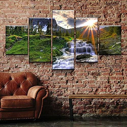 KOPASD Arts – 5 Piezas de Lienzo de Arte de Pared Paisaje de la Cascada del Atardecer Cuadros de Lienzo Moderno Giclée para decoración del hogar (tamaño Grande 200 x 100 cm)