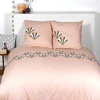 Côté Déco Parure de lit Palme 100% Coton : 1 Housse de Couette 240x220 cm + 2 taies d'oreiller 65x65 cm