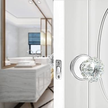 SHINY HANDLES Crystal Glass Door Knobs Interior with Lock,Privacy Vintage Crystal Door Knobs for Bedroom and Bathroom (Polish