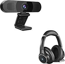 3 in 1 Webcam with Bluetooth Headset, Webcam with 2 Speakers & 4 Built-in Omnidirectional Microphones Arrays, ENC Noise Ca...