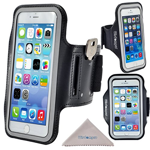 Wisdompro iPhone 6 Plus Armband for Running Exercise, iPhone 6s Plus Sport Armband Case, Reflective Workout Armband with Key Holder, Also fits Samsung Galaxy Note 3, Note 4 (Black)