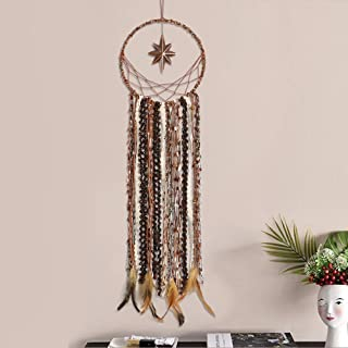 Dremisland Dream Catchers with Unique Antique Brass 8 Point Star Dream Catcher Brown Feathers and Lace Wall Hanging Ornament for Home Decor Gift