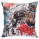 LongTrade Jean-Michel Basquiat P71 Fodera per Cuscino per Fodera per Cuscino Cuscino Quadrato Decorativo Moderno per Divano casa 18x18 Pollici