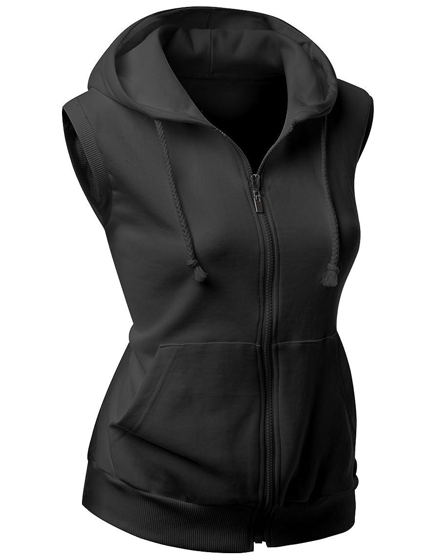 Xpril Women's Basic Solid Cotton Based Zipper Vest Hoodie