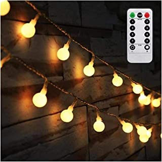 AMARS Battery Operated String Lights, 16 Feet 50 LED Waterproof Globe Fairy Lights with Remote Controller, Decorative Lights for Bedroom, Tapestry, Party, Wedding, Indoor, Outdoor (Warm White)
