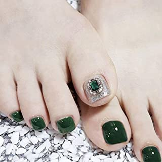 New Style Toe Nails Silver Emerald Pure Green Color Full Cover Finished Feet Patch for Girls/Women