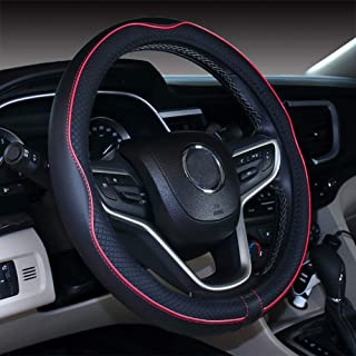Micro Fiber Leather Car Steering wheel Cover 15 inches (Black Red)