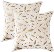Desirable Life Throw Pillow Case Cover Hot Stamping Plume Fuzzy Decorative Pillowcase for Couch Sofa Bed, Super Soft 18x18 (Gold, 2)