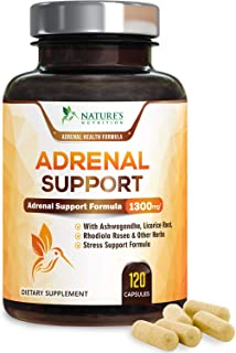 Adrenal Support & Cortisol Support 1300mg - Extra Strength Stress Support & Adrenal Support Supplement with Ashwagandha, Licorice Root, Rhodiola Rosea & Other Herbs, Non-GMO - 120 Capsules