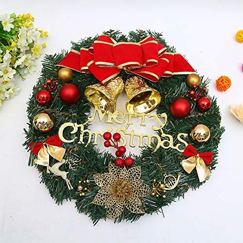 GROOFOO - Ghirlanda natalizia da 30,5 cm, decorazione natalizia per porta, con palline, campanelle e buon Natale, per feste, casa, negozio, porta e finestra