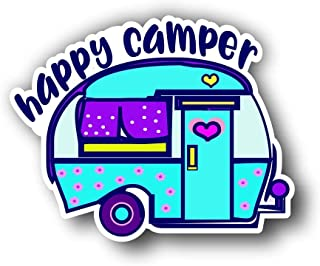 "Magnet Happy Camper Magnetic vinyl bumper sticker sticks to any metal fridge, car, signs 5"""