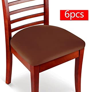 Boshen 6PCS Elastic Spandex Chair Stretch Seat Covers Protector for Dining Room Kitchen Chairs Stretchable (Coffee, 6)