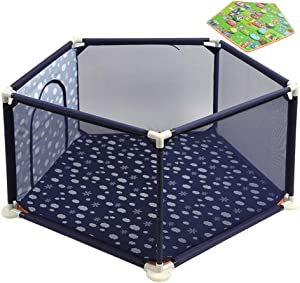 Park Baby Fence Baby Kids Safety Activity Playroom Center Yard Crawling Breathable Step Cloth Oxford Portable Steady Pack with Play Mat  138cm 66cm