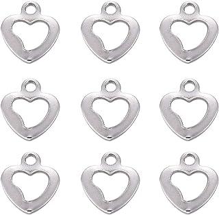 e4e40376f40b DanLingJewelry 304 - Abalorios de acero inoxidable con forma de corazón  hueco para hacer joyas y