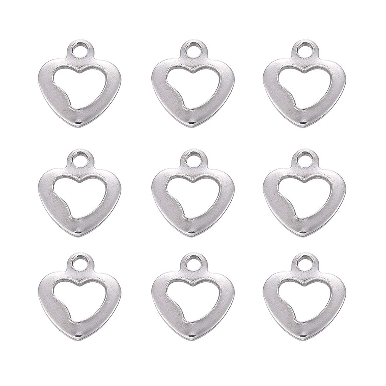 DanLingJewelry 304 Stainless Steel Hollow Heart Charms Pendants Jewelry Making Findings for DIY Necklaces Bracelets Earrings(Stainless Steel Color-20pcs,10 x 9 x 1mm,Hole:1mm) fpfcssytmi2601