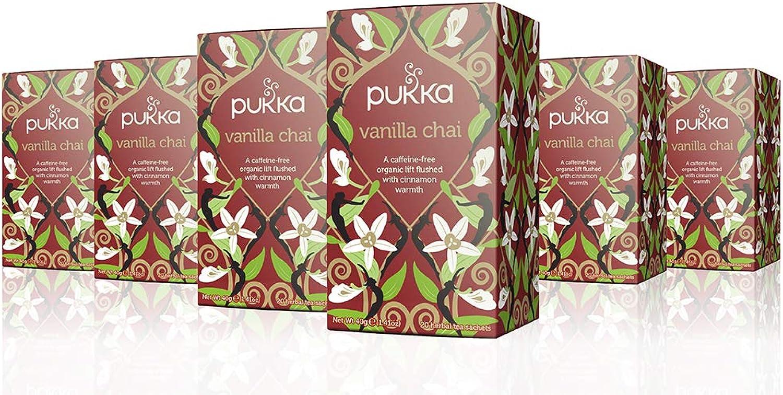 Pukka Herbs Organic Vanilla Chai Herbal Tea, 20 individually wrapped bags, 6 Count
