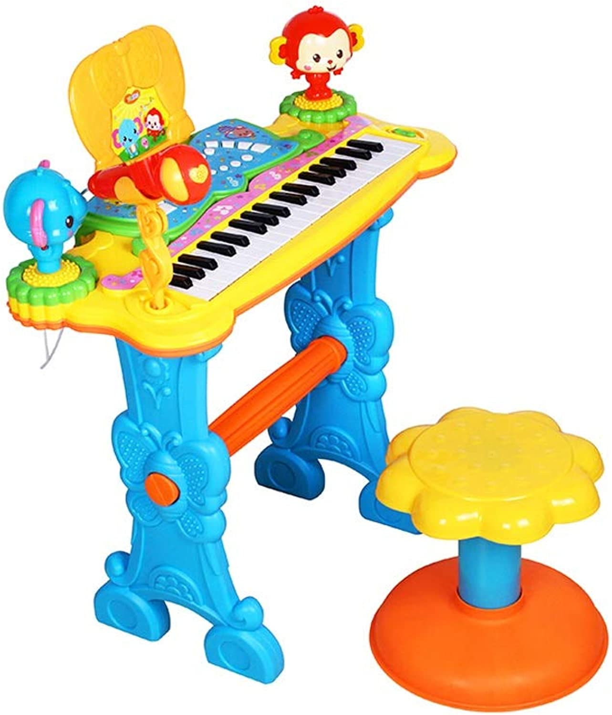 LIUFS-Tastatur Keyboard-Musik Der Kinder 3 Jahre Altes Mdchen Mit Mikrofon-Anfnger-frühen Bildungs-Spielwaren ( Farbe   Blau )