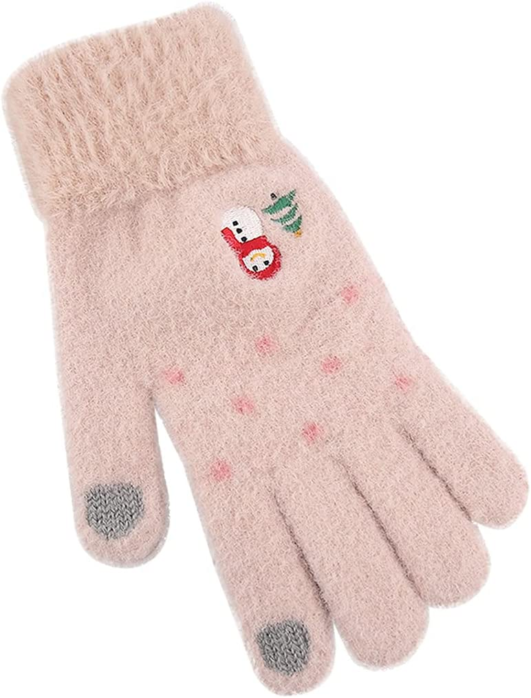 COSYOO Elastic Knitted Cute Windproof Lined Christmas Women Gloves Non-Slip Fashion Washable Elastic Breathable Knitted Touchscreen Gloves