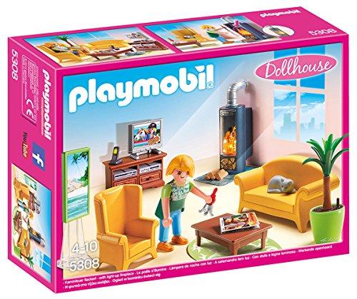 Playmobil 5308 Dollhouse Woonkamer met Kachel, met 1 Figuur en Accessoires