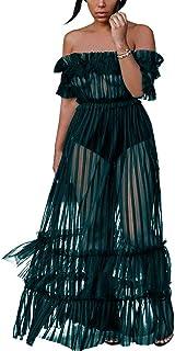 7fdb1d7908a Sexy Off Shoulder Maxi Dresses - Womens Mesh Sheer Lace Flared Long Maxi  Dress See Through