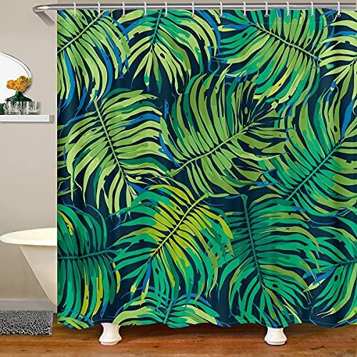 Cortina de baño con hojas verdes, impermeable, con ganchos, diseño botánico, cortina de ducha para puestos, bañeras, baño, 72 x 72 pulgadas
