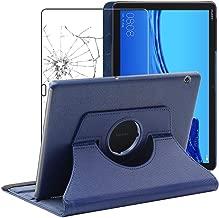 ebestStar - Compatibile Cover Huawei MediaPad T5 10.1 Custodia Protezione Pelle PU con Supporto Rotazione 360, Blu Scuro + Pellicola Vetro Temperato [T5 10.1: 243 x 164 x 7.8mm, 10.1'']