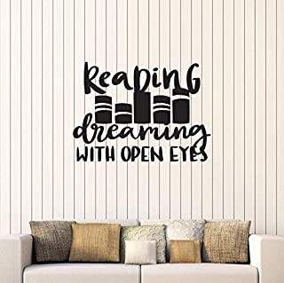 gykjf Wall Sticker Reading Dream with Open Eye Vinyl Art Wall Decal Sticker Quote Book Reading Room Library Bookstore Inspiring Sticker L937 42 58cm