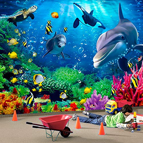Mural Non Woven 3D Effect Wallpaper 400*280Cm Underwater World Colorful Coral Animal Whale Green Seaweed Self-Adhesive 3D Wall Stickers For Girls Room Wall Decal Poster Picture Holiday Gift Decoration