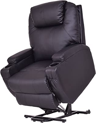 Black Electric Lift Chair Adjustable Position Recliner Cup Holder w/ Controller