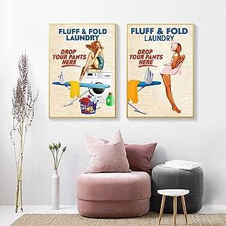 LZASMMVP Buanderie Décoration Murale Vintage Naughty Blanchisserie Fluff Fold Art Toile Peinture Impression Affiche Buande...