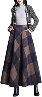 Macondoo Women Thickened Swing Wool-Blend Elastic Waist Plaid Skirts