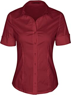 d9f7eb216 SUNNOW Womens Tailored Short Sleeve Basic Simple Button-Down Shirt with  Stretch
