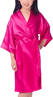 Kissababy Girls Silk Kimono Robe Peacock Flower Bathrobe Sleepwear Nightgown for Spa Party Wedding Birthday